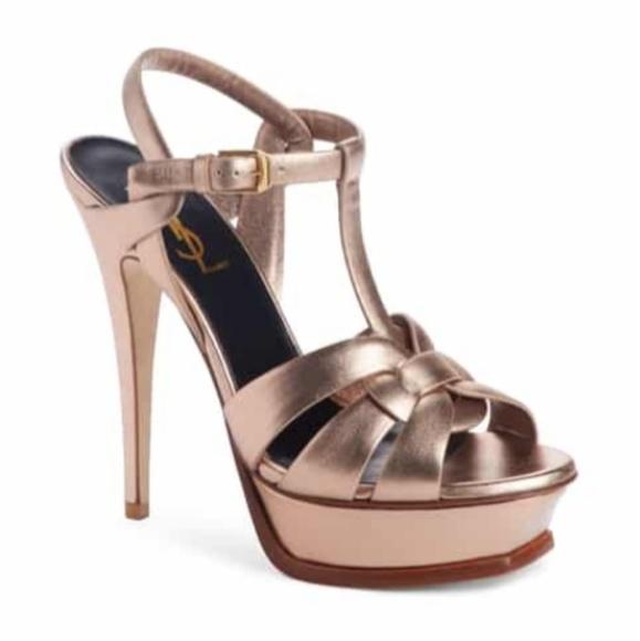 c3af57cb6be YSL Tribute Blush Metal Platform Sandal Heels 37. M 5bf5e0d12beb79f90b44f21e